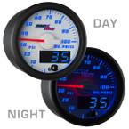 White & Blue MaxTow Oil Pressure Gauge Day/Night View