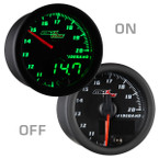 Black & Green MaxTow Wideband Air/Fuel Ratio Gauge On/Off View
