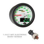 White & Green MaxTow 60 PSI Boost Gauge with 1/8-27 NPT Electronic Pressure Sensor