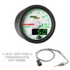 White & Green MaxTow 1500 F Exhaust Gas Temperature Gauge with 1/8-27 NPT EGT Probe