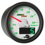 White & Green MaxTow 30 PSI Boost/Vacuum Gauge