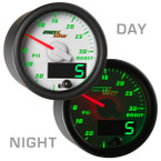 White & Green MaxTow 30 PSI Boost/Vacuum Gauge Day/Night View