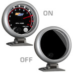 "Tinted 3 3/4"" Tachometer Gauge On/Off View"
