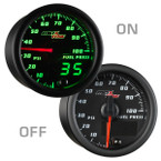 Black & Green MaxTow 100 PSI Fuel Pressure Gauge On/Off View