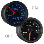 "Black & Blue MaxTow 2"" Tachometer Gauge On/Off View"