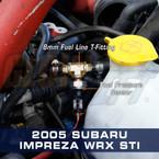 Fuel Line Fuel Pressure T-Fitting Adapter Installed to 2005 Subaru Impreza WRX STI