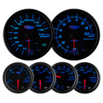 Tinted 7 Color Series Speedometer, Tachometer, Fuel Level, Oil Pressure, Volt, & Water Temperature Gauges