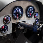 Tinted 7 Color Cluster Dashboard Set Installed to Custom Panel - White