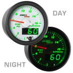 White & Green MaxTow Nitrous Pressure Gauge Day/Night View