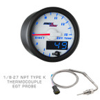 White & Blue MaxTow 1500° F Exhaust Gas Temperature Gauge with 1/8-27 NPT Type K EGT Probe