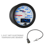 White & Blue MaxTow Transmission Temperature Gauge with 1/8-27 NPT Electronic Temp Sensor