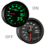 Black & Green MaxTow 100 PSI Boost Gauge On/Off View