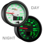 White & Green MaxTow 100 PSI Diesel Boost Gauge Day/Night View