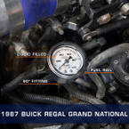 White Mechanical Fuel Pressure Gauge Installed to 1987 Buick Regal Grand National