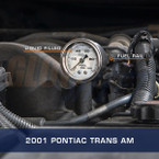 White Mechanical Fuel Pressure Gauge Installed to 2001 Pontiac Trans Am