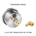 Waterproof Design with 1/8-27 NPT Thread & 90 Degree Fitting