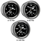 15 PSI, 30 PSI & 100 PSI Liquid Filled Mechanical Fuel Pressure Gauges - Black Gauge Face