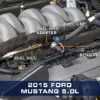 "3/8"" Quick-Connect EFI Fuel Line Adapter Installed to 2015 Ford Mustang 5.0L"