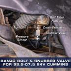 Fuel Pressure Banjo Bolt & Snubber Valve Combo for 24 Valve Cummins Installed