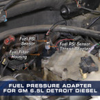 Fuel Pressure Thread Adapter for GM 6.5L Turbo Diesel Installed to Truck