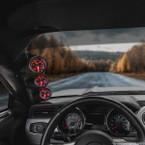 Black Triple Pillar Gauge Pod for 2015-2021 Ford Mustang Installed