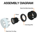 Assembly Diagram of 2015-2020 Ford Mustang Air Vent Gauge Pod