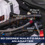 90 Degree AN Male to Male Fuel Pressure Sensor Thread Adapter Installed