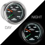 Mechanical 200 PSI Dual Needle Air Pressure Gauge - Day & Night View