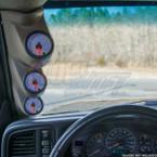 2000-2006 Chevrolet Silverado Duramax Gray Triple Pillar Pod Front View Installed