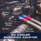 Oil Cooler Sandwich Adapter Installed to a 5.9L 6.7L Dodge Ram Cummins
