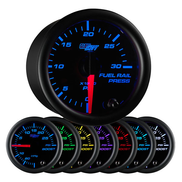 Black 7 Color 30,000 PSI Fuel Rail Pressure Gauge