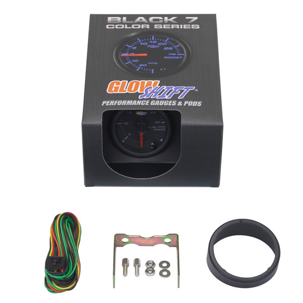 GlowShift Black 7 Color 30,000 PSI Fuel Rail Pressure Gauge Unboxed