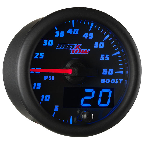 Black & Blue MaxTow 60 PSI Boost Gauge