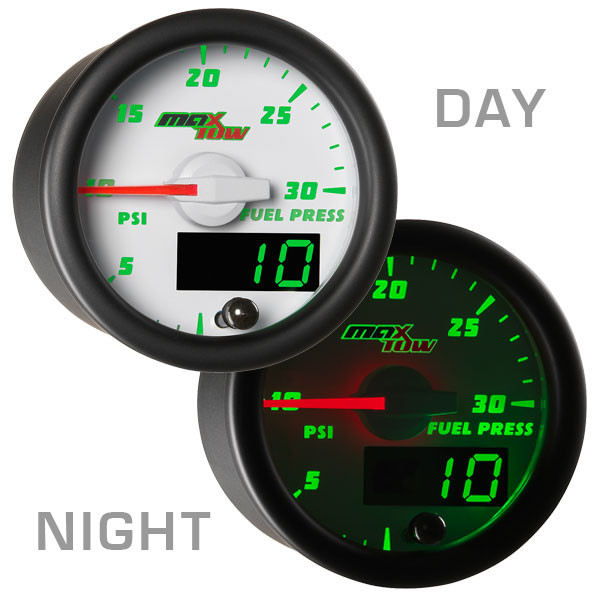 White & Green MaxTow 30 PSI Fuel Pressure Gauge Day/Night View