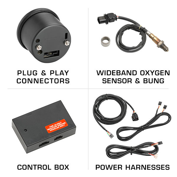 Included Wideband Oxygen Sensor, Control Box & Wiring Harnesses with Wideband Air/Fuel Gauge
