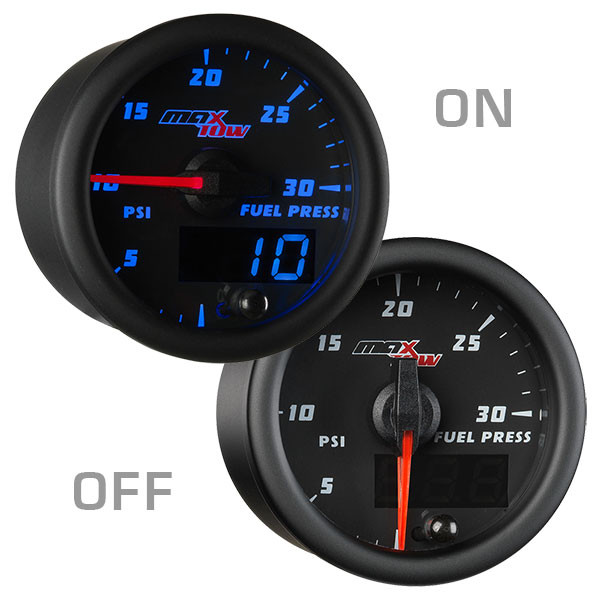 Black & Blue MaxTow 30 PSI Fuel Pressure Gauge On/Off View