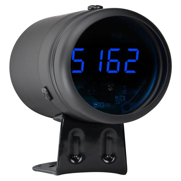 Black Digital Tachometer & Blue LED Shift Light