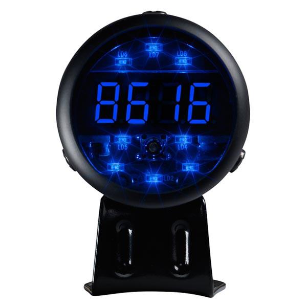 Black Digital Tachometer & Blue LED Shift Light Straight View