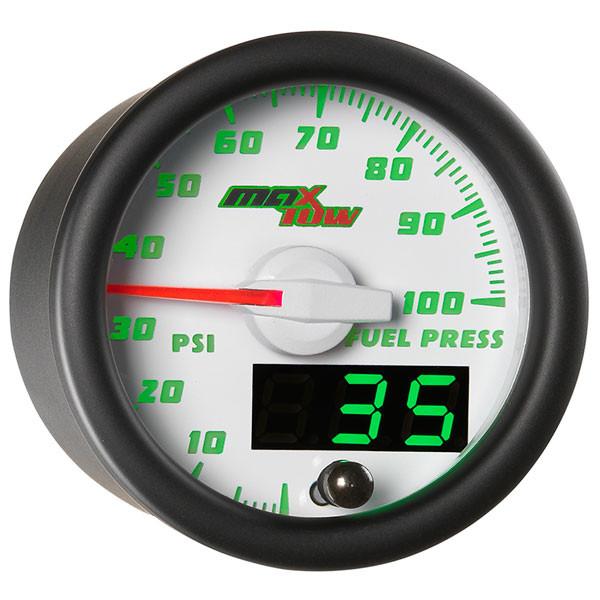White & Green MaxTow 100 PSI Fuel Pressure Gauge
