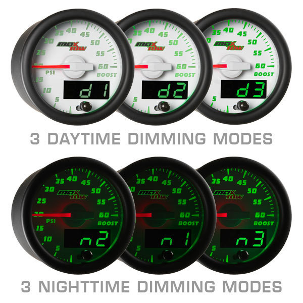 White & Green MaxTow Daytime & Nighttime Dimming Modes