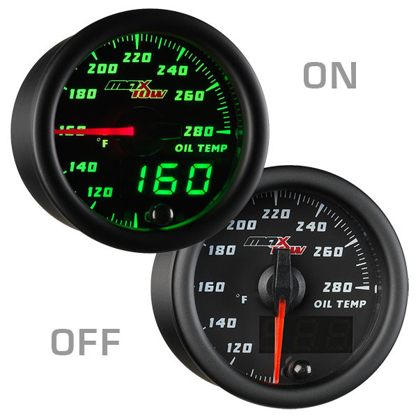 Black & Green MaxTow Oil Temperature Gauge On/Off View
