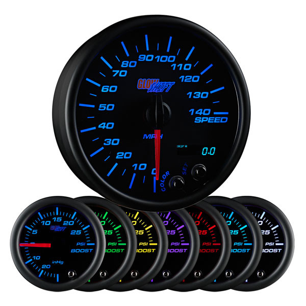 "Black 7 Color 3 3/4"" In Dash Speedometer Gauge"