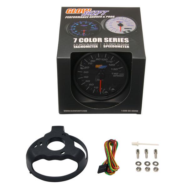 "GlowShift Black 7 Color 3 3/4"" In Dash Speedometer Gauge Unboxed"