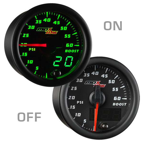 Black & Green MaxTow 60 PSI Boost Gauge On/Off View
