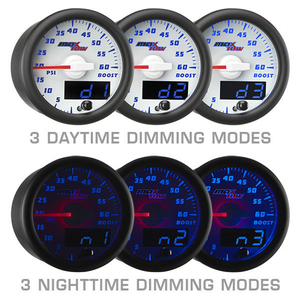 White & Blue MaxTow Daytime & Nighttime Dimming Modes