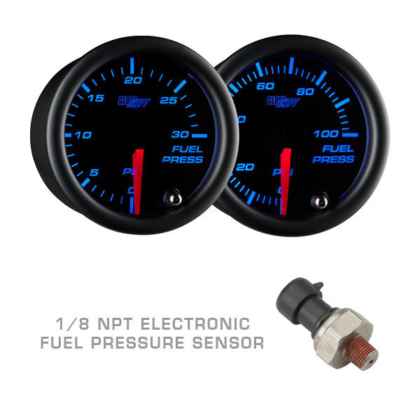 Tinted 7 Color Fuel Pressure Gauge with Electronic Pressure Sensor