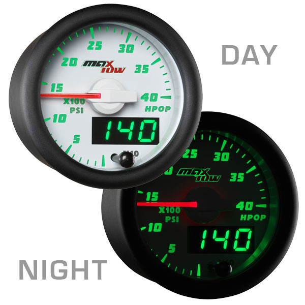 White & Green MaxTow High Pressure Oil Pressure HPOP Gauge Day/Night View