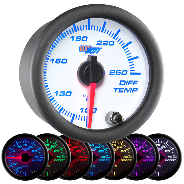 White 7 Color Differential Temperature Gauge