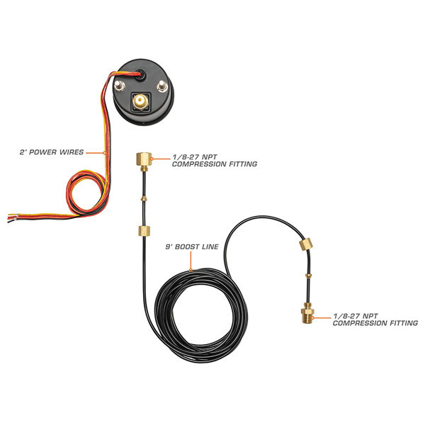 Black 7 Color Series 60 Boost Gauge Wiring & Parts Schematic