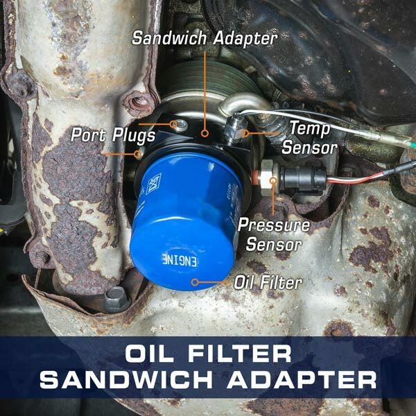 13/16-16 Oil Filter Sandwich Adapter Installed